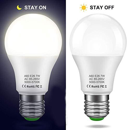 LEDERA Dusk to Dawn Light Bulb, E26 Sensor Lights Bulb, A19 7W Automatic LED Bulbs Indoor/Outdoor Lighting Bulb for Porch Front Door Garage Basement (5000k Daylight White, 2 Pack)
