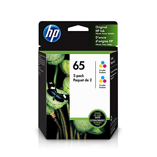 HP 65 | 2 Ink Cartridges | Works with HP Deskjet 2600 Series, 3700 Series, HP ENVY 5000 Series, HP AMP 100, 120, 125, 130 | Tri-color | 6ZA56AN