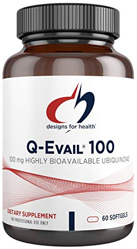 Designs for Health Q-Evail 100 - 100mg CoQ10 Highly Bioavailable Ubiquinone - Coenzyme Q10 - Non-GMO (60 Softgels)