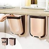 MAGIC SELECT 2 Cubo De Basura Plegable Colgante para Cocina, Baño, Dormitorio, Salón, Coche (9 litros) Colores Marrón