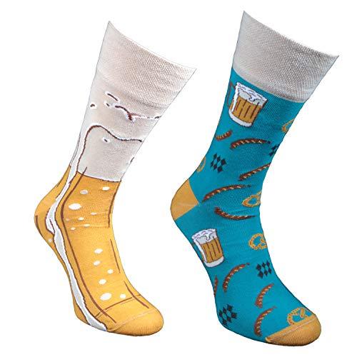 Comodo - lustige Motivsocken Herren und Damen aus Baumwolle, ausgefallene Freizeitsocken mit witzigem Muster, Bunte Funny Socks, unterschiedliche farbige Männersocken SM1 39-42 3 Paar Bier