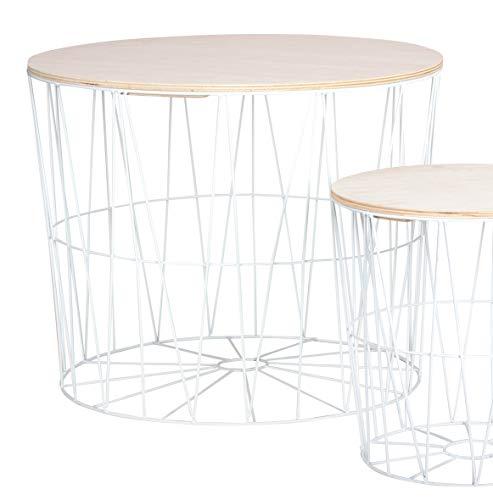 Moderner Beistelltisch Metall Korb mit Holz Deckel - dekorativer Sofatisch inkl. Korbablage mit Stauraum weiß - helle Tischplatten - Wohnzimmer Tisch (50x40 cm)