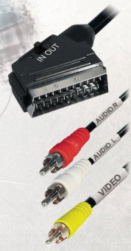 Adapterkabel Scartstecker auf 3X Cinchstecker, 2,0 m (1x Kabel) schwarz