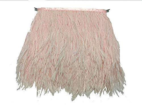 ADAMAI Natural Ostrich Feathers Trims Fringe DIY Dress Sewing Crafts Costumes Decoration Pack of 5 Yards (Pale-Pink)