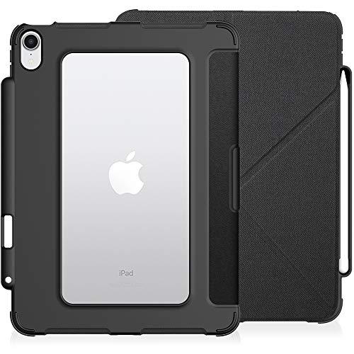 KHOMO Funda iPad Air 4 (2020) Smart Cover Origami y Carcasa Transparente con Bordes Antichoque y Soporte Carga Apple Pencil 2 - Negro