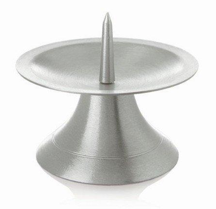 Taufkerzenhalter Scheibenleuchter Messing vernickelt Silber matt satiniert mit Dorn Ø 9 cm für Taufkerzen