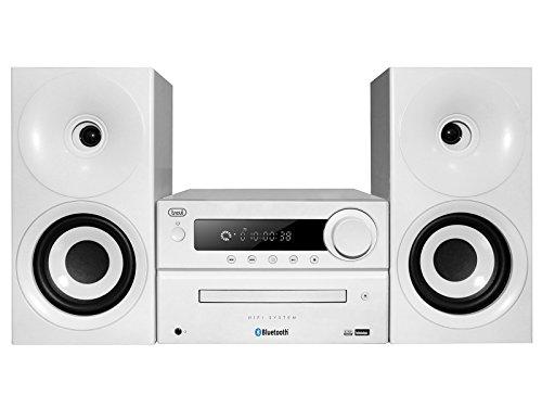 Trevi HCX 1080 BT Sistema Stereo HiFi con CD, Mp3, USB, Line-In, Bluetooth, Funzione NFC, Radio FM PLL e Presa Cuffie, Bianco