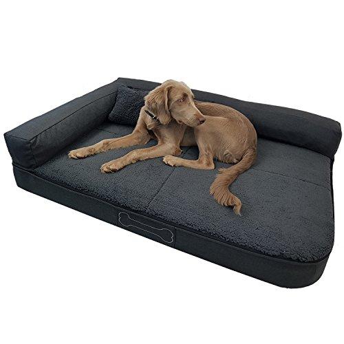 DILUMA Luxus Hundebett Valetta mit Kissen Größe L 120x80 cm für große Hunde - orthopädisches Hundesofa mit abnehmbaren Bezug und Antirutschbeschichtung