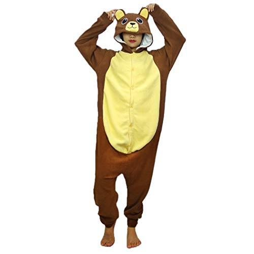 FORLADY Unisex Onesie Pijamas para Adultos Animal Mono Polar Juego de rol Traje de Familia Pijamas Oso