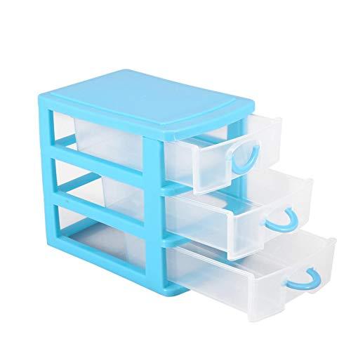 Caja de almacenamiento de maquillaje de plástico, para habitación, mesa(3 layers of blue)
