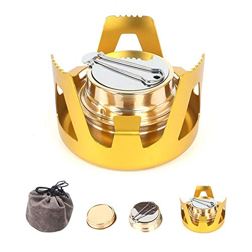 ShineTool Mini Alkohol Brenner, Tragbare Aluminiumlegierung Messing Mini Kupfer Spirituskocher Campingkocher Alkohol Herd für Outdoor-Camping, Wandern, Backpacking