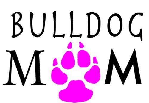 WickedGoodz Pink Paw Bulldog Mom Decal - Dog Bumper Sticker - Pet Owner Sticker
