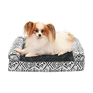Furhaven Pet Dog Bed – Cooling Gel Memory Foam Plush Kilim Southwest Home Decor Traditional Sofa-Style Living Room Couch Pet Bed with Removable Cover for Dogs and Cats, Boulder Gray, Small