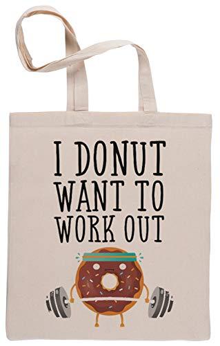 Capzy I Donut Want to Work Out Einkaufstasche Beige Shopping Bag Beige