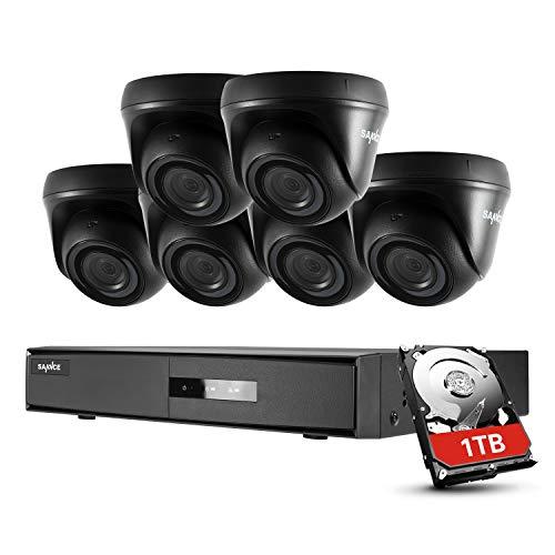 SANNCE Kits Sistema de Seguridad 8CH 1080N DVR 5-en-1 y 6 Cámaras de Vigilancia 1080P HD con Visión Nocturna Leds IP66 Acceso Remoto-1TB HDD