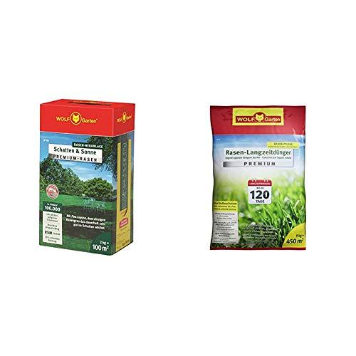WOLF-Garten - Premium-Rasen »Schatten & Sonne« LP100 ; 3820040 & Rasen-Langzeitdünger »Premium« 120 Tage LE 450, 3830045