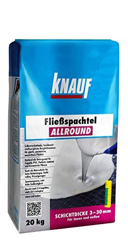 Knauf Allround Fließ-Spachtel, Ausgleichs-Masse, 20-kg – Spachtel-Masse, Ausgleichs-Spachtel, selbstverlaufend, hohe Endfestigkeit, spannungsarm, frostsicher, für 3-mm bis 30-mm Schichtdicken