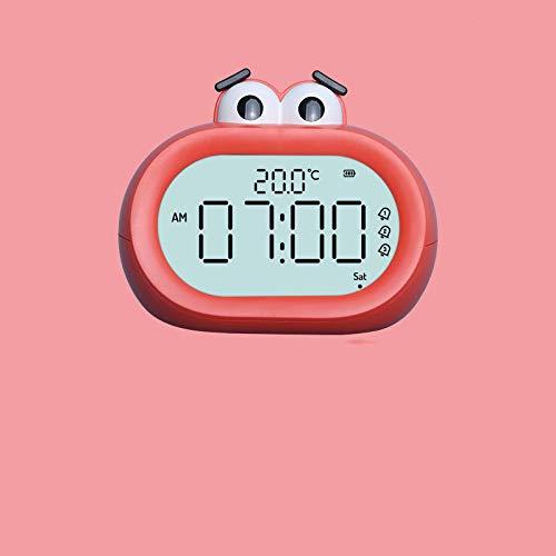 HDFD Fuente de alimentación principal del reloj de alarma digital, pantalla grande de espejo digital, reloj de alarma de operación simple y simple, reloj de alarma de cabecera, sin tic,rojo120x76x97cm