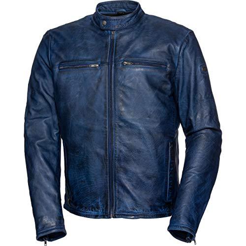 Spirit Motors Motorradjacke mit Protektoren Motorrad Jacke Retro-Style Lederjacke 5.0 blau XL, Herren, Chopper/Cruiser, Sommer, Leder/Textil