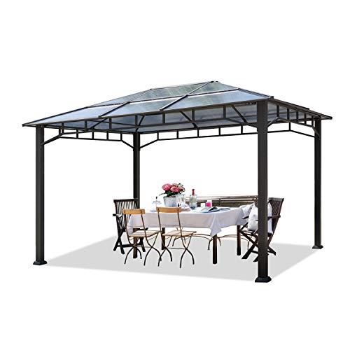 TOOLPORT Gartenpavillon 3x4 m Aluminium Gestänge Polycarbonat Dach 8mm Pavillon Gartenzelt ohne Seitenteile