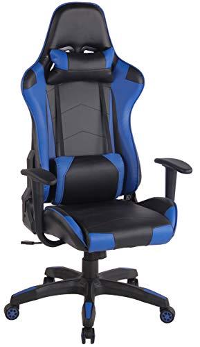 CLP Sedia Gaming Miracle V2 in Similpelle i Sedia Racing 2 Cuscini I Poltrona Girevole E Regolabile Max Carico 150KG, Colore:Nero/Blu