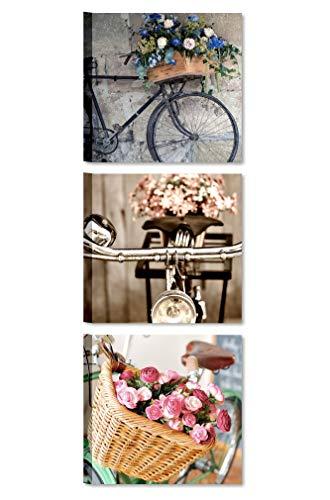Quadri L&C ITALIA Tris Bici Vintage - Quadretti Shabby Chic da Parete 25 x 25 per Soggiorno Salotto Camera da Letto Cucina Bagno Stampa su Tela con Fiori