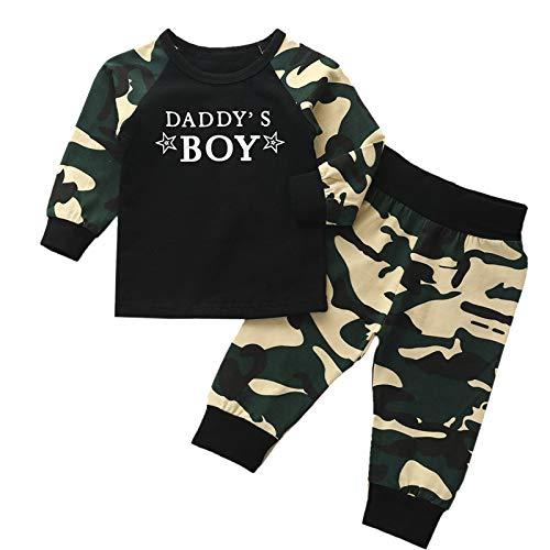 Oyolan Baby Jungen Kleidung Set Zweiteiler Jogginganzug Sportanzug Langarm Kapuzenpullover mit Jogginghose Baumwolle Baby Set für 0-12 Monate Army Grün 98-104