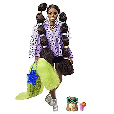 Barbie Extra Doll #7 in Top, Shorts & Furry Shrug with Pet Pomeranian, Long Pigtails with Rainbow Hair Ties, Outfit & Accessories, Multiple Flexible Joints, Gift for Kids 3 Years Old & Up by Mattel