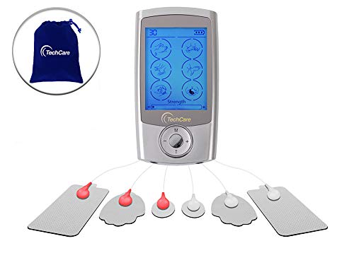 TechCare Pro TENS Unit 24 Modes Best Portable Massager Back Neck Stress Sciatic Pain, Handheld Full Body Palm Plus Digital Pulse Impulse Professional Micro Massager (Silver)