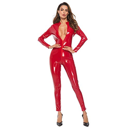 JYCDD Mono Sexy para Mujer Corsé PVC Chaqueta De Cuero De Una Pieza Pantalones con Cremallera Cuero Brillante Adulto Cosplay Vestido De Fantasía Mono,Rojo,M