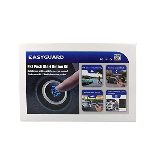 EASYGUARD EC002-bu Intelligent RFID PKE Car Security Alarm System Auto Start keyless Entry Push Button Start /& Touch Password Entry Passive Locking Unlocking Rolling Code FSK Technology