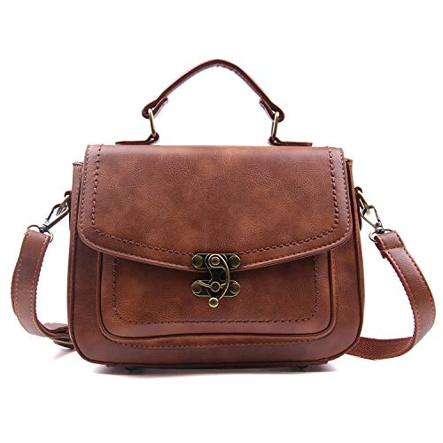 EVEOUT Casual Vegan Leather Cross Body Bag for Women, Retro Ladies Designer Handbag Stylish Messenger Satchel Purse Bag Classic Vintage Top Handle Bags for Girls