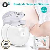 O³ Bouts de Seins en Silicone | Protège Mamelon avec Boite de rangement | lot de 2 paires de Chapeau d'allaitement | Coquille d'Allaitement | Coquillage allaitement 24mm