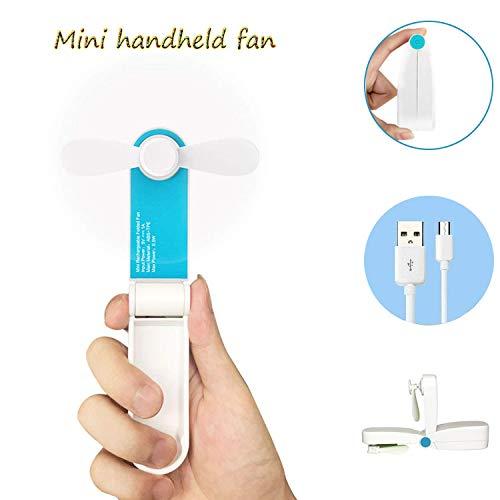 Bornran Tragbarer Mini Lüfter Klein Faltbarer Handventilator Wieder aufladbarer persönliche Taschenventilator Batterie betriebener Reise Ventilator USB Schreibtisch-Fan für Büro, Haus, Outdoor (Blau)
