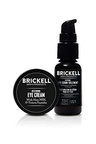 Brickell Men's Restoring Eye Routine for Men, Eye Serum and Eye Cream for Men, Natural and Organic, Unscented