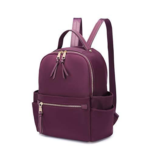 LA TERRE Nylon Fashion Double Zipper Backpack w/Multiple Pockets for Women (Plum)