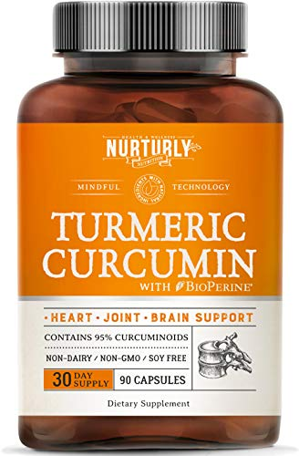 Turmeric Curcumin with BioPerine Black Pepper and 95% Curcuminoids – High Absorption Turmeric Supplements 1300mg for Joint, Hearth & Inflammatory Health – Non-GMO, Gluten Free - 90 Capsules