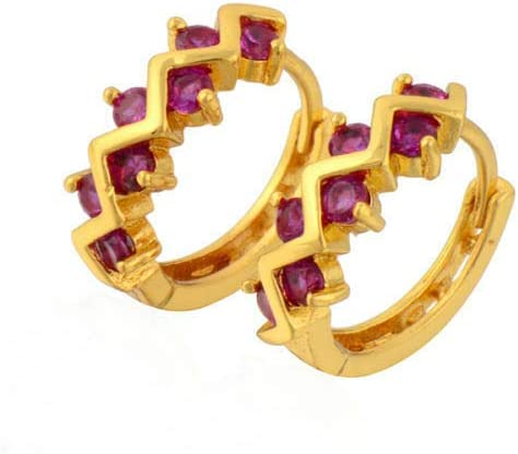 Pretty New Yellow Gold Filled Petite Zigzag Set Round Ruby Red CZ Hoop Earrings