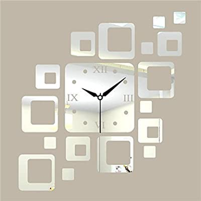 YHEGV 19.75 h PS Modern Block Mirrors Wall Clock
