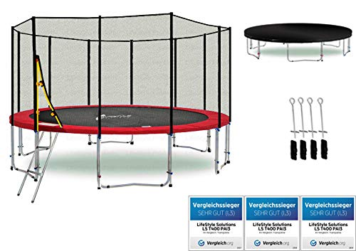 LifeStyle ProAktiv LS-T370-PA12 (RD) Deluxe Trampolino da Giardino 370cm - incl. Rete di Sicurezza 140g/m² - New