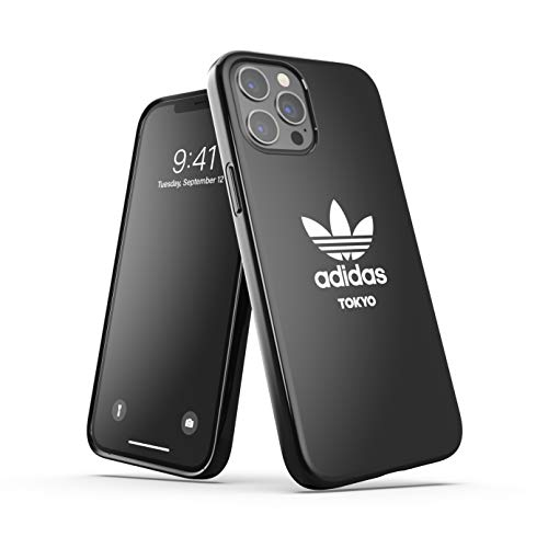 adidas Funda diseñada para iPhone 12 Pro MAX de 6,7 Pulgadas, Fundas a Prueba de caídas, Bordes elevados, Carcasa Original Tokyo Snap Case Cover Negro Blanco Logo