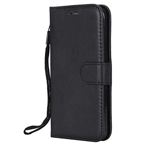 Hülle für iPhone 5S/SE/5 Hülle Handyhülle [Standfunktion] [Kartenfach] [Magnetverschluss] Tasche Etui Schutzhülle lederhülle klapphülle für Apple iPhone SE 5S 5 - JEKT050004 Schwarz