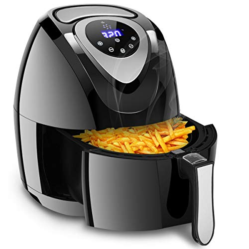 Costzon 7-In-1 Air Fryer, 3.4 Quart 1400W, Healthy Oil Free Cooking, Electric Deep Cooker with LCD Touch, Temperature and Time Control, Dishwasher, Detachable Basket Handle, UL Certified