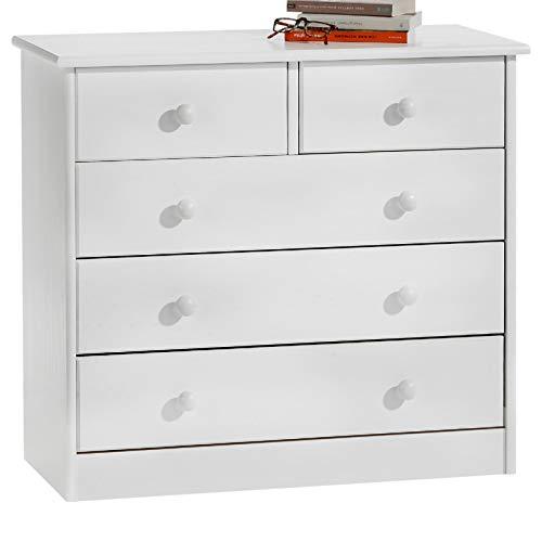 IDIMEX Kommode Anrichte Sideboard Rondo, 5 Schubladen, Kiefer massiv, weiß lackiert
