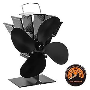 Ventilador Estufa de 4 Cuchillas, Mefine Ventilador para Estufa de Leña Calor Accionado Ecológico Operación Silenciosa, para Estufa de Leña/Estufa/Chimenea