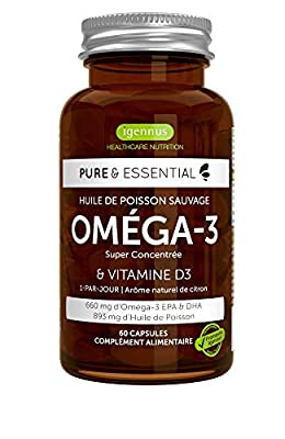 Pure & Essential Omega-3 Wild Fish Oil & Vitamin D3, High Strength Omega-3 EPA & DHA, Triglyceride, Lemon, 60 capsules