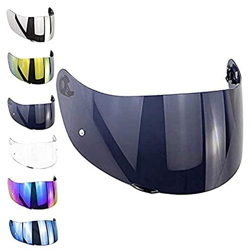 Visiera Casco compatibile con AGV K3 Sv K1 K5 K5s S4-Sv Horizon Stealth-Sv Skyline Strada Numo Aftermarket Oro Blu Specchio Arcobaleno Trasparente Fume GT-2 (Fume')