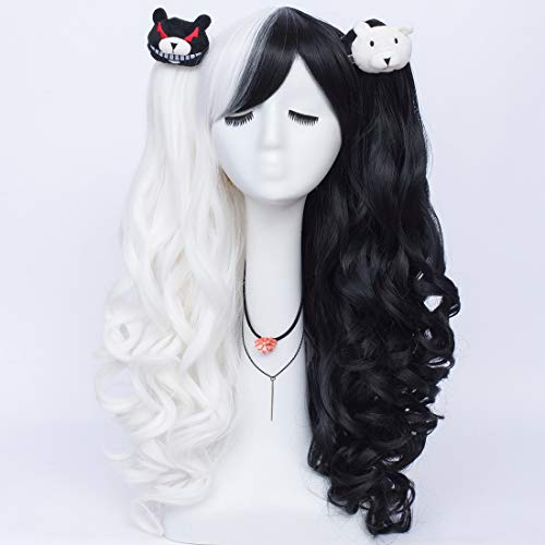 Labeauté Black and White Monokuma Long Curly Wig, Double Ponytails Cosplay Anime Wig with Accessories Hairpin, L7113