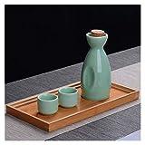 Barm 1 Olla de 2 Tazas Juego de Tazas de Olla de Sake de cerámica Vintage Juego de Tazas de Licor Flagon Juego de Tazas de Licor Juego de Vino de Sake japonés (Color: Estilo 3)