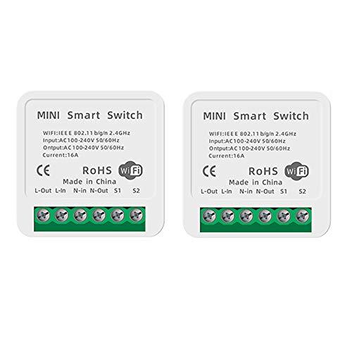 Interruptor inteligente Interruptor WiFi inteligente Interruptor integrado Módulo de relé Control remoto con Smart Life, Google Home, Control por voz con Alexa, Asistente de Google, 16A (2 unidades)